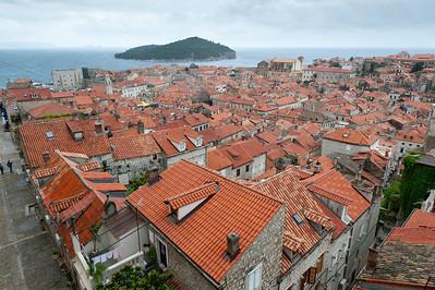 Rooftops over houses in Dubrovnik, Croatia