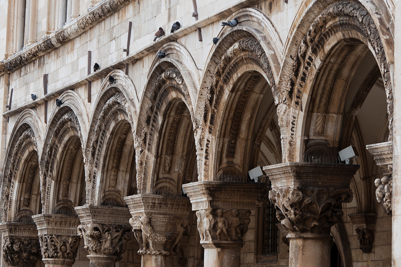 Carvings on pillars at Rector's Palace in Dubrovnik, Croatia