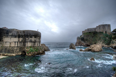 The Adriatic Sea and the walled city of Dubrovnik, Croatia