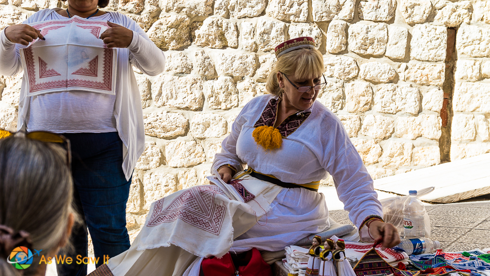 Local woman selling her wares in Dubrovnik
