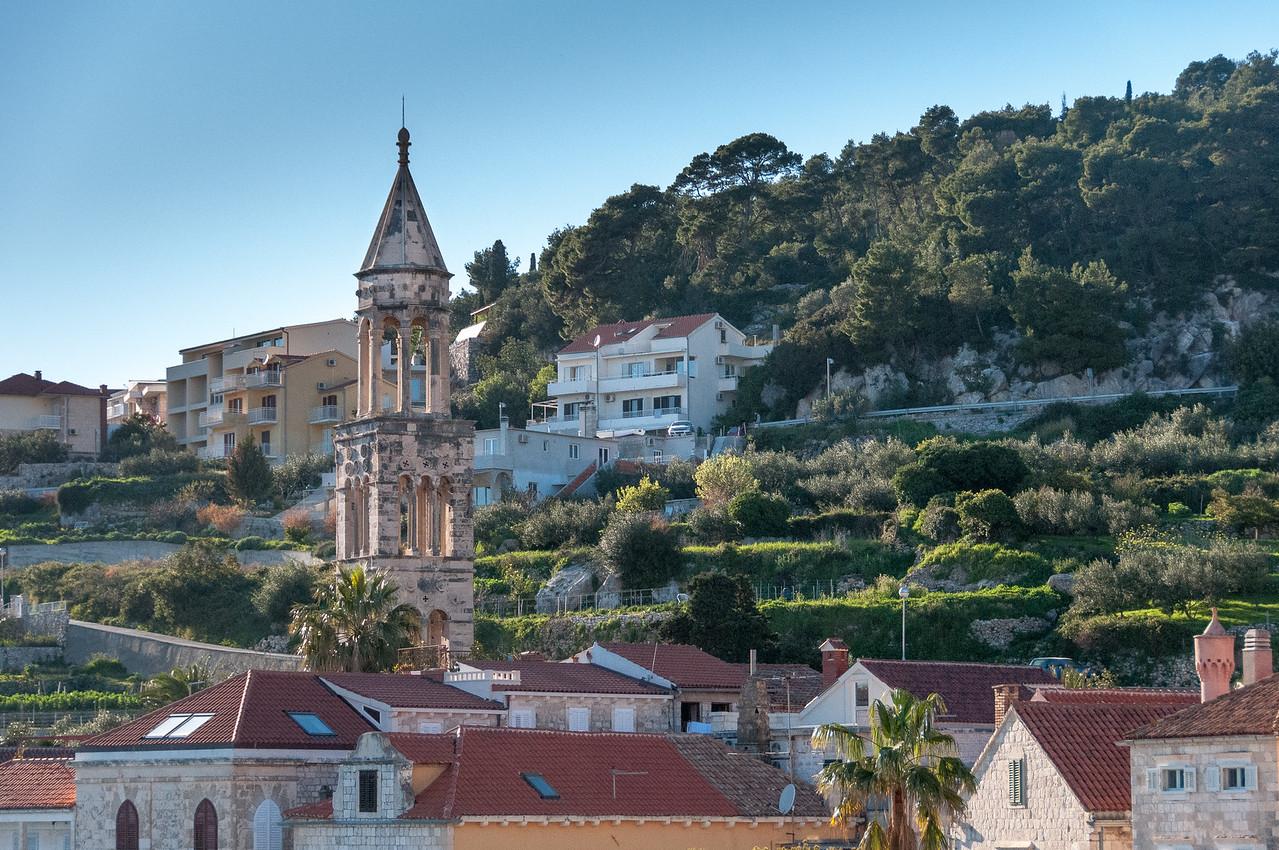 Church tower in Hvar, Croatia