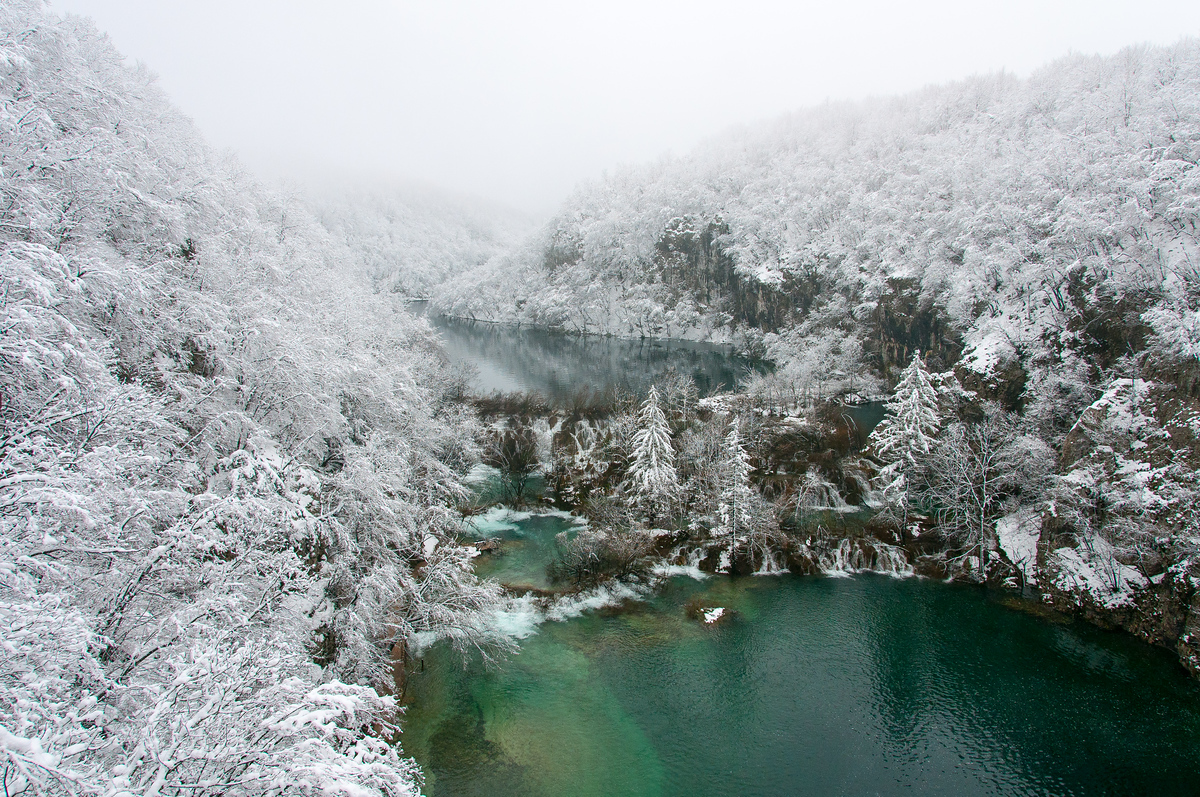 Snowfall on Plitvice National Park, Croatia