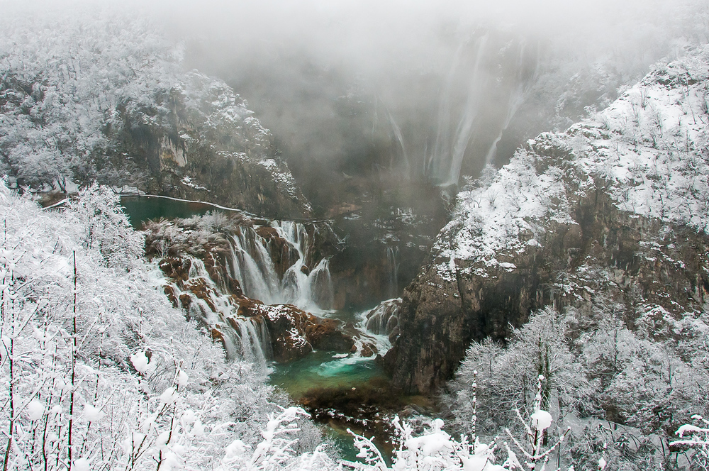 Waterfalls in Winter in Plitvice National Park in Croatia