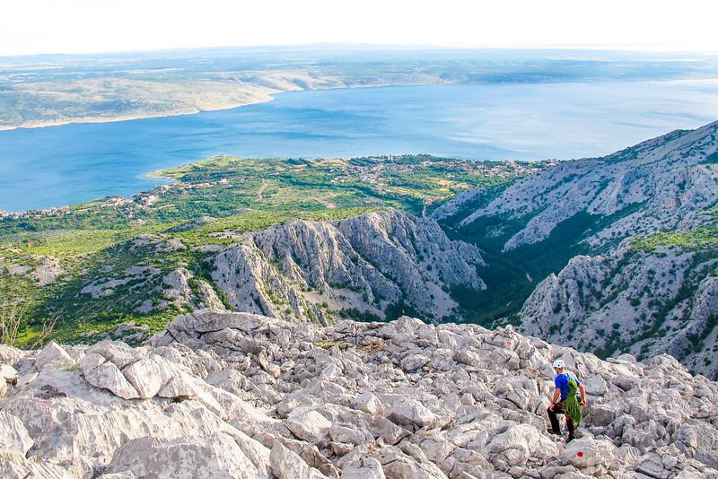 Walking off a top of a climb, Paklenica