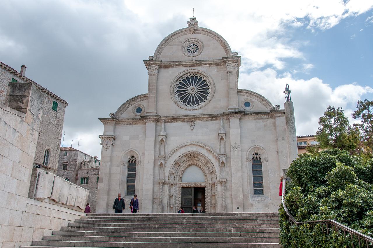 The St. James Church facade in Sibernik, Croatia