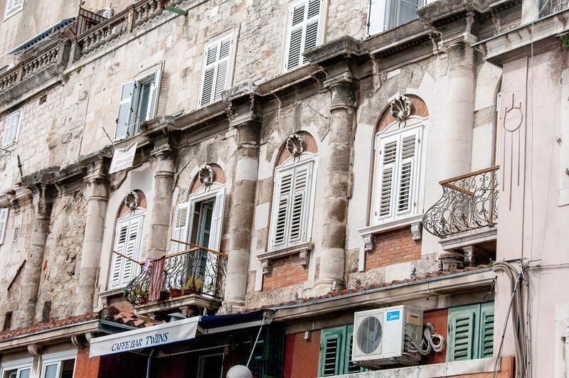 Windows in an old structure in Split, Croatia