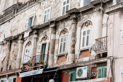 Windows in an old structure in Split, Croatia