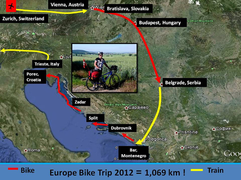 Our route map ... a combination of biking, trains and buses