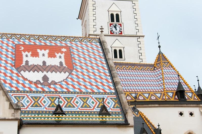 Croatian insigna on roof of St. Marco Church - Zagreb, Croatia