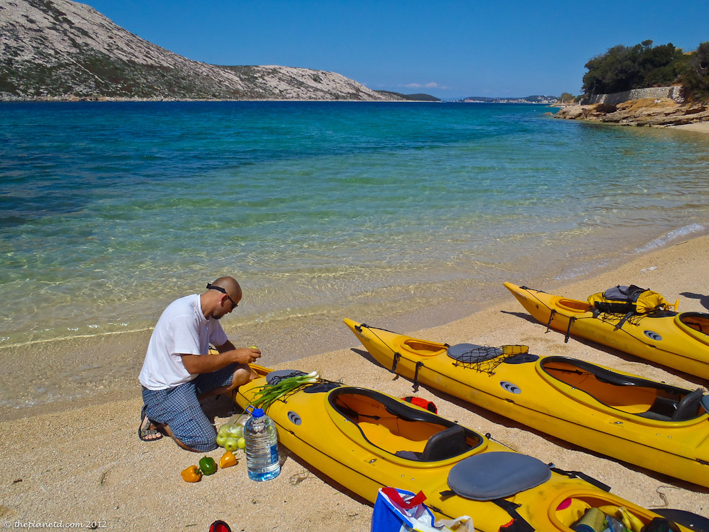 loading gear into kayaks in croatia
