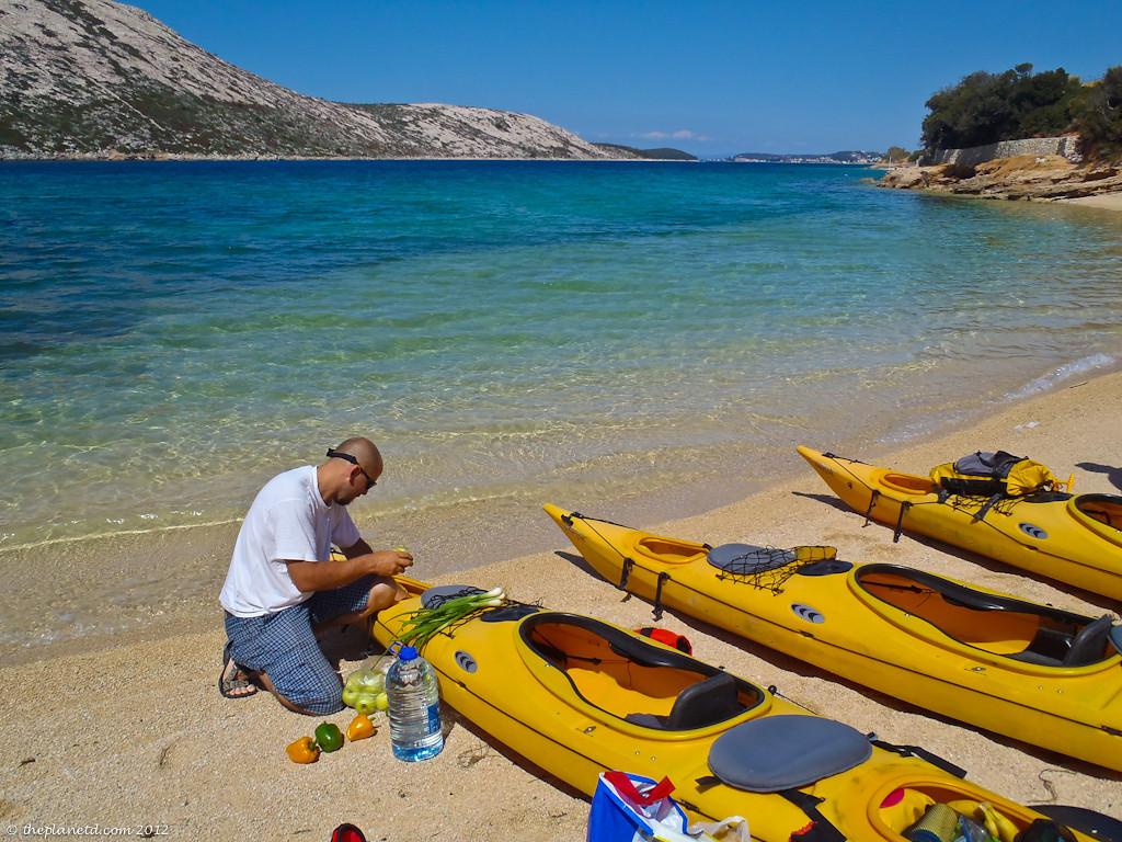 loading gear into kayaks in croatia