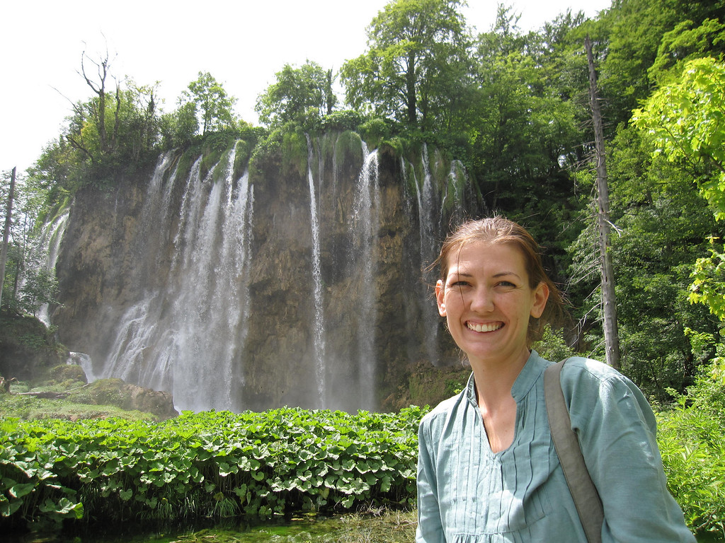 Shannon in front of one of the larger waterfalls!