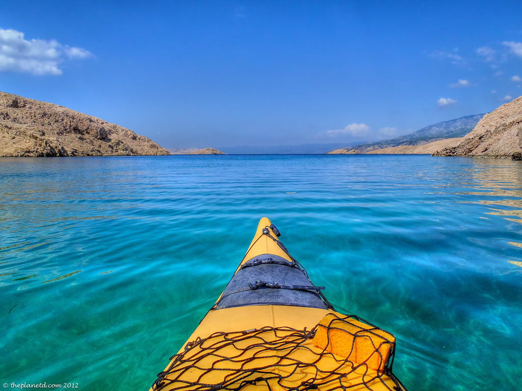 Blue Water From Front Of Kayak In Croatia
