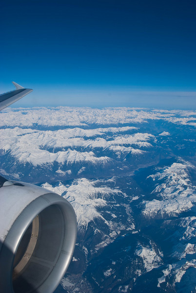 In-flight between Paris and Cyprus over the Swiss Alps