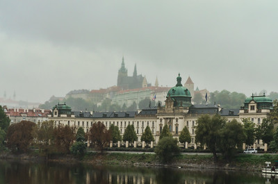 Prague Castle overlooking the Strala Academy and Vltava River