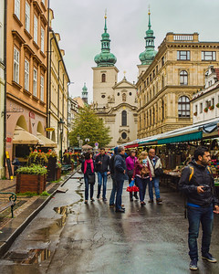 Street Market with Church of St Gallen in the background