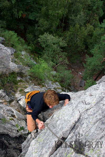 Christopher climbing in the Suche Skaly area of Cesky Raj in Czech Republic. We climbed a few more routes and really enjoyed it. Both of us were completely satisfied with the days events.