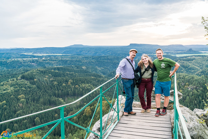 Dan and Linda pose with Vitek, owner of Northern Hikes, at an overlook at Pravcice gate.