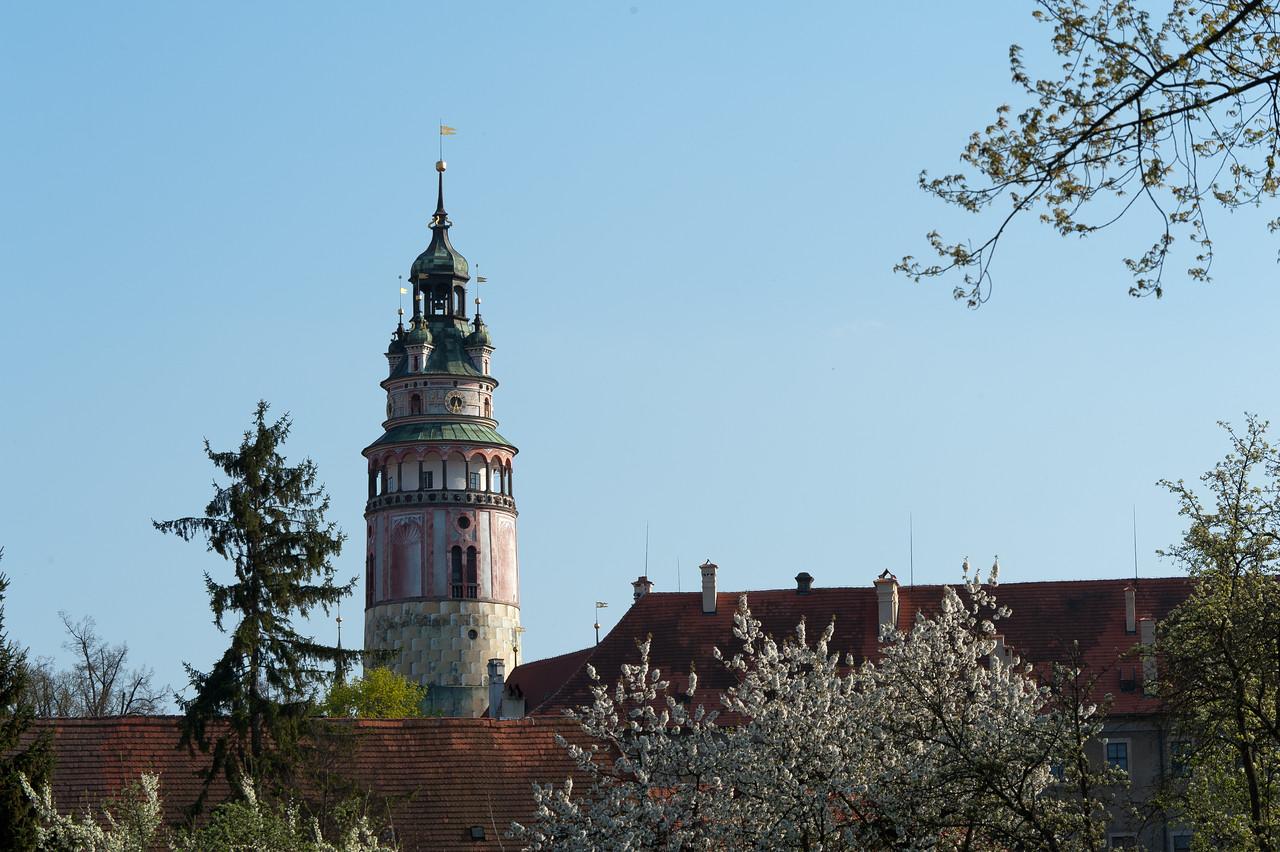 View of the Castle Tower in Cesky Krumlov, Czech Republic