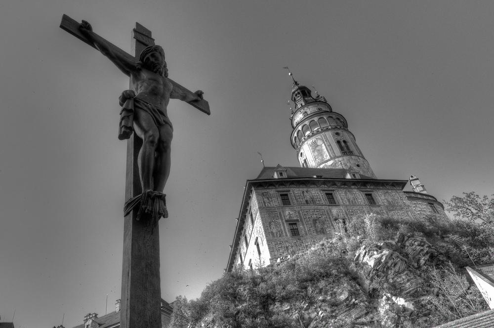 A Crucifix Near the Cesky Krumlov Castle in Cesky Krumlov, Czech Republic