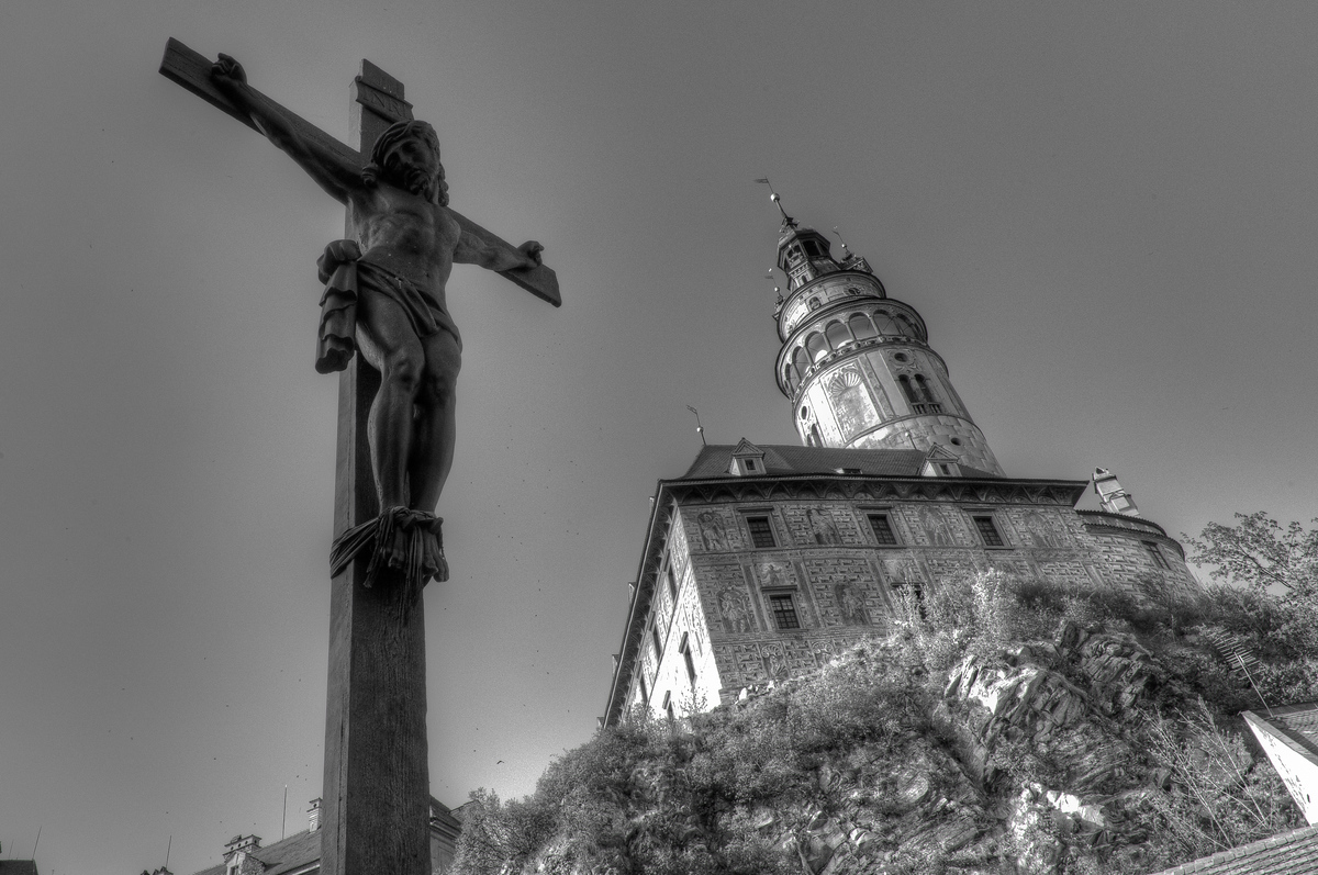A Crucifix Near the Cesky Krumlov Castle in Cesky Krumlov, Czech Republic