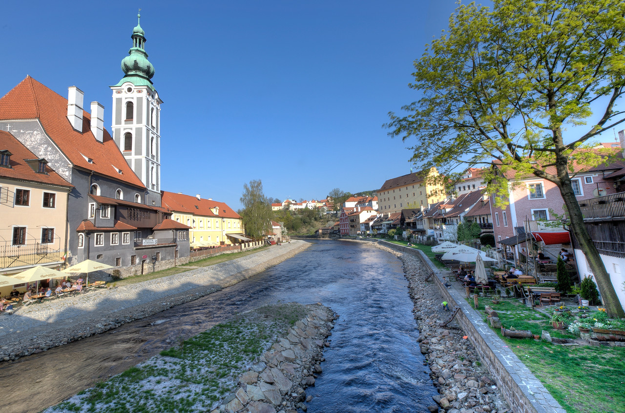 Creek and houses along the bank - Cesky Krumlov, Czech Republic