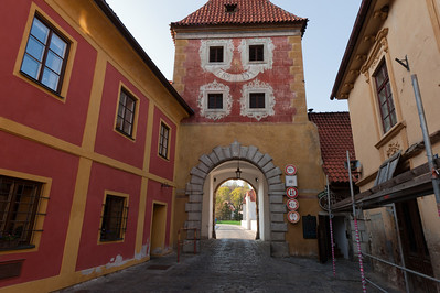 Cobblestone streets and old structures in Cesky Krumlov - Czech Republic