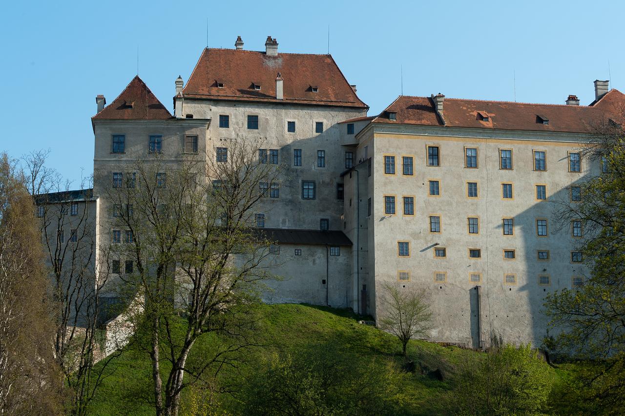 The back of a building in Cesky Krumlov, Czech Republic