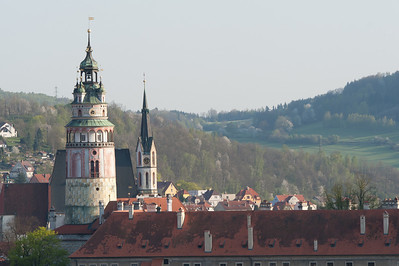 Isolated shot of the Castle Tower in Cesky Krumlov - Czech Republic