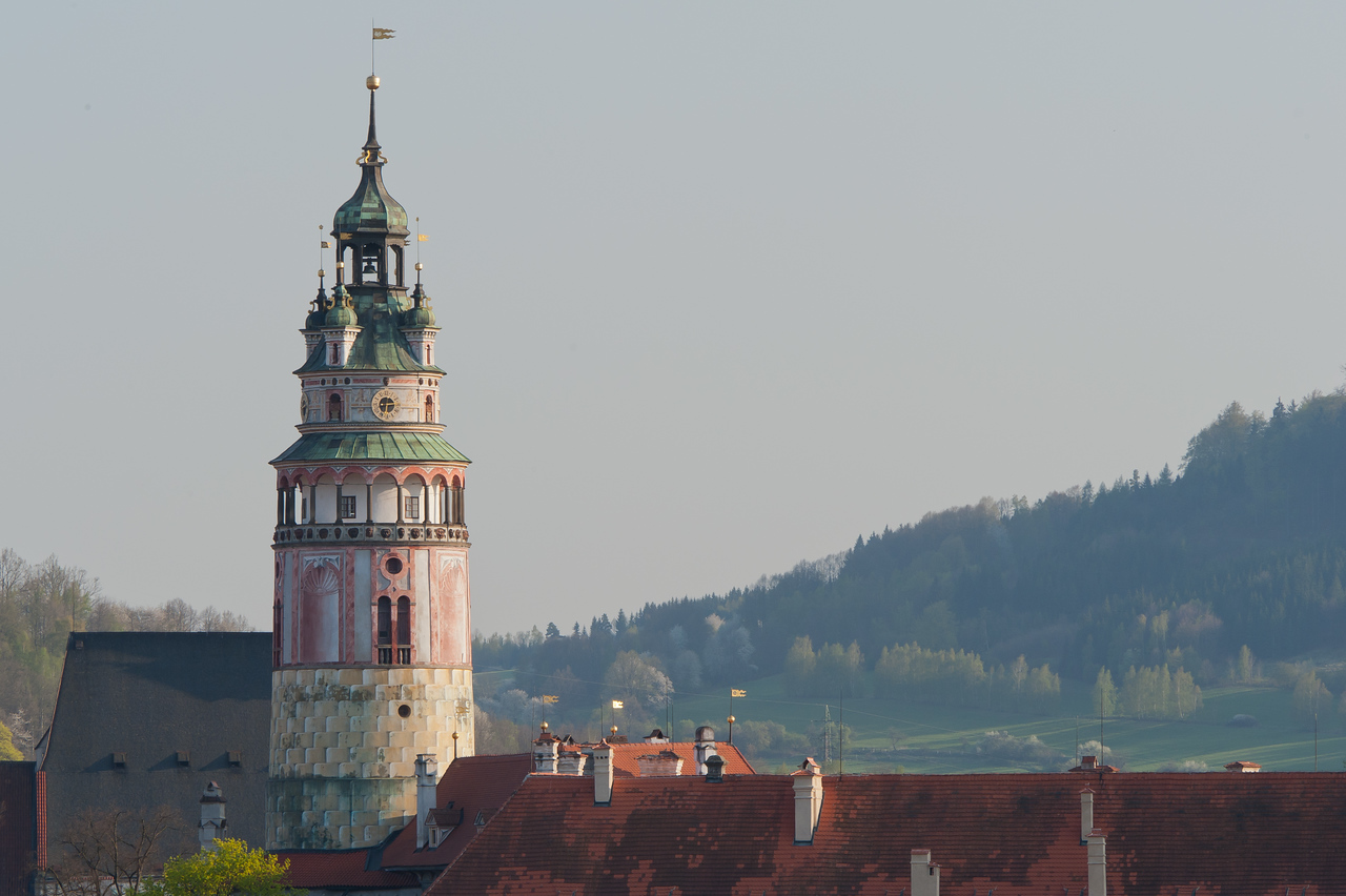 The Castle Tower in Cesky Krumlov - Czech Republic