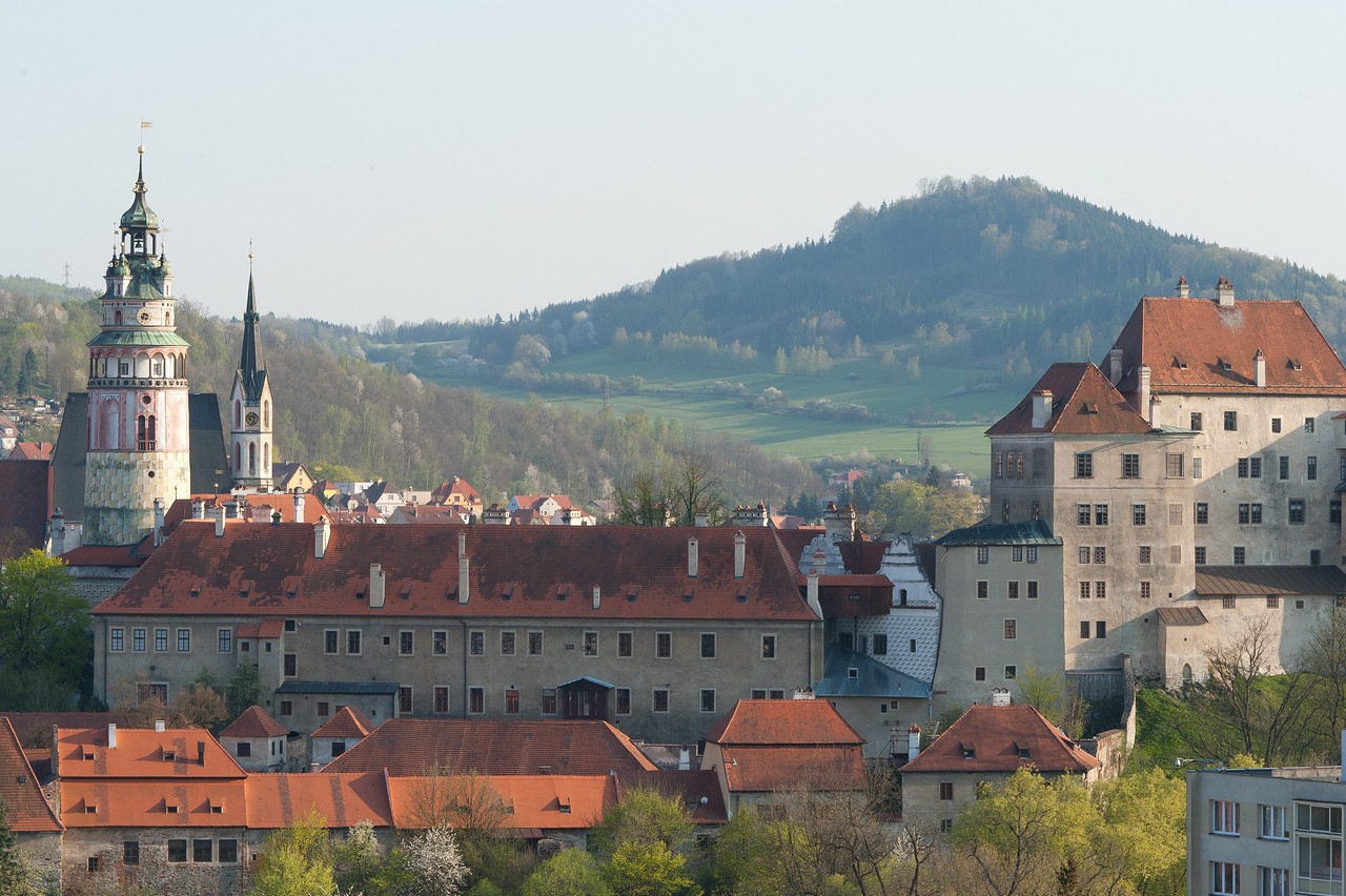 The Castle tower overlooking the houses in Cesky Krumlov, Czech Republic