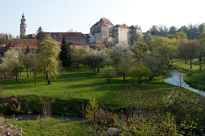 Small creek and trees along the medieval city of Cesky Krumlov - Czech Republic