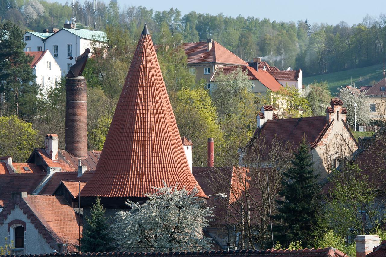 Roof of the Latrán 104. Budějovická Gate in Cesky Krumlov, Czech Republic
