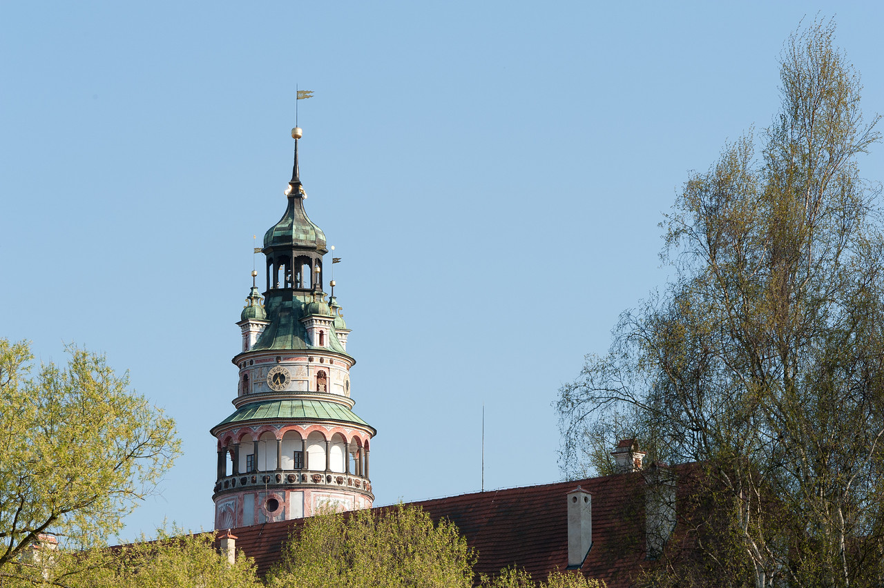 The Castle Tower against clear sky in Cesky Krumlov, Czech Republic