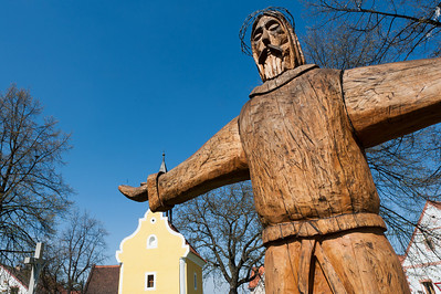 Close-up of wooden sculpture in Holasovice, Czech Republic