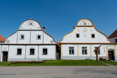 Rural houses facade in Holasovice, Czech Republic