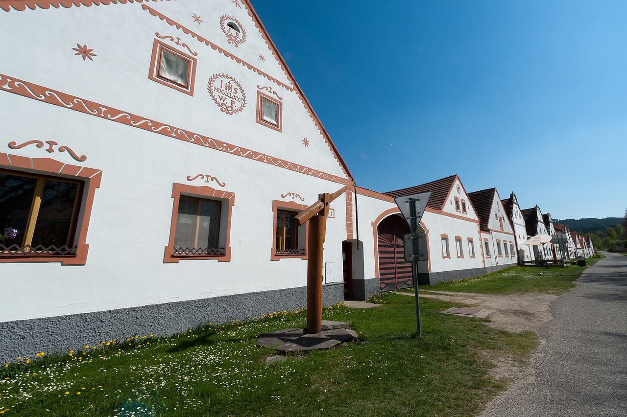 Rural decorated houses in Holasovice, Czech Republic