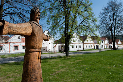 Wooden sculpture in a park in Holasovice, Czech Republic