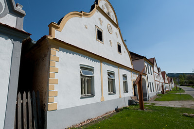 Side profile of a rural house in Holasovice, Czech Republic