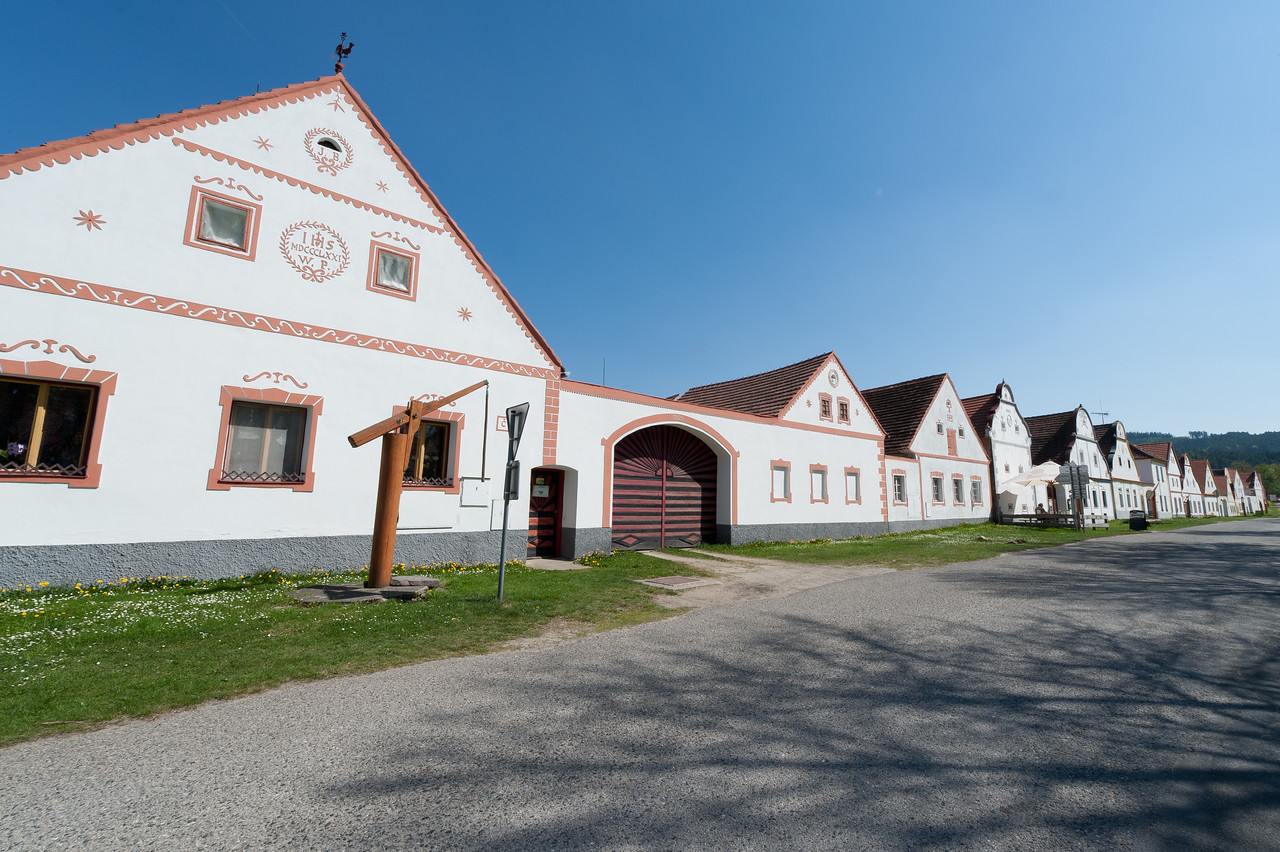 Row of rural houses in Holasovice, Czech Republic