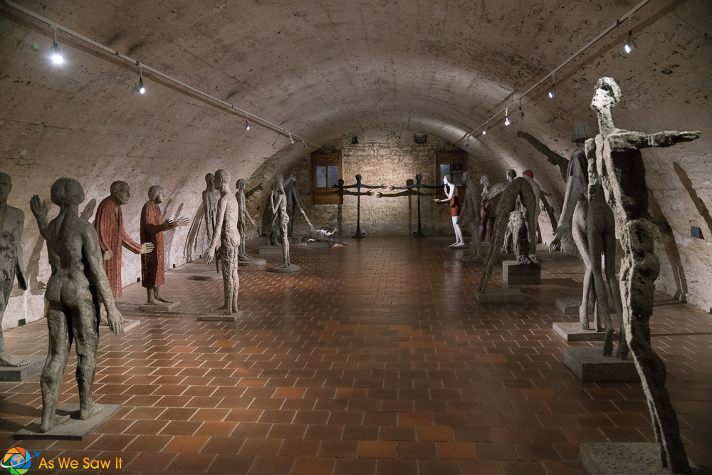 Statues in the cellar of Litomysl Castle