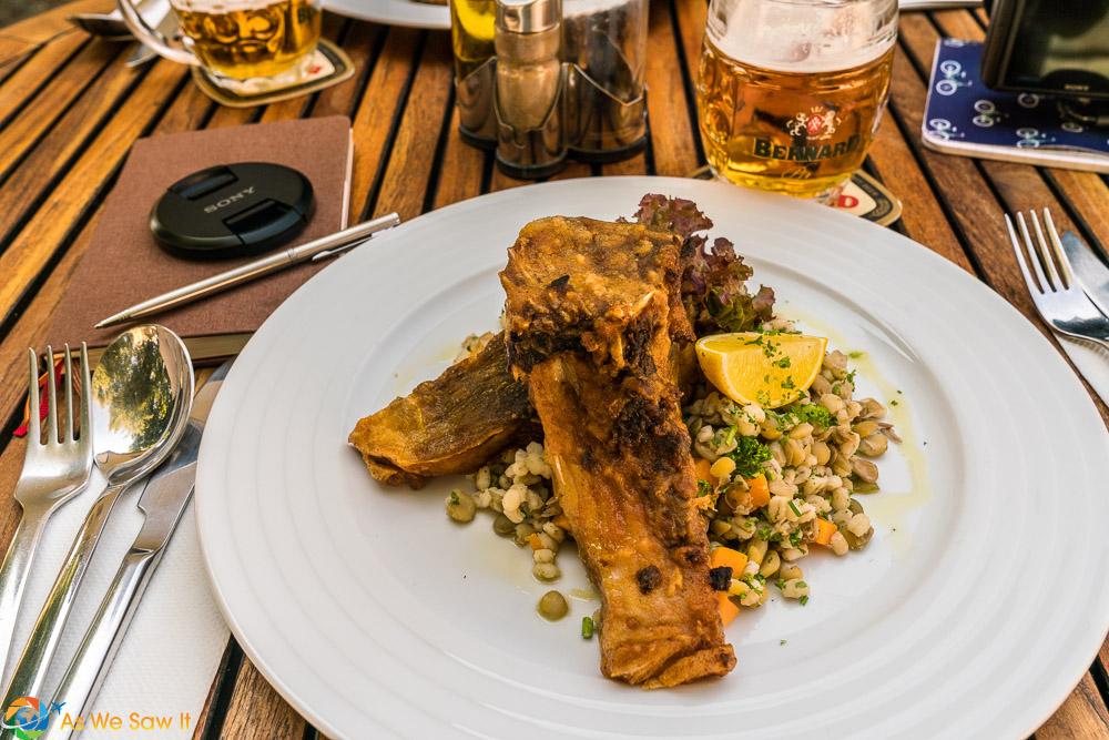 Fried Carp with Barley Salad at Maly Svet