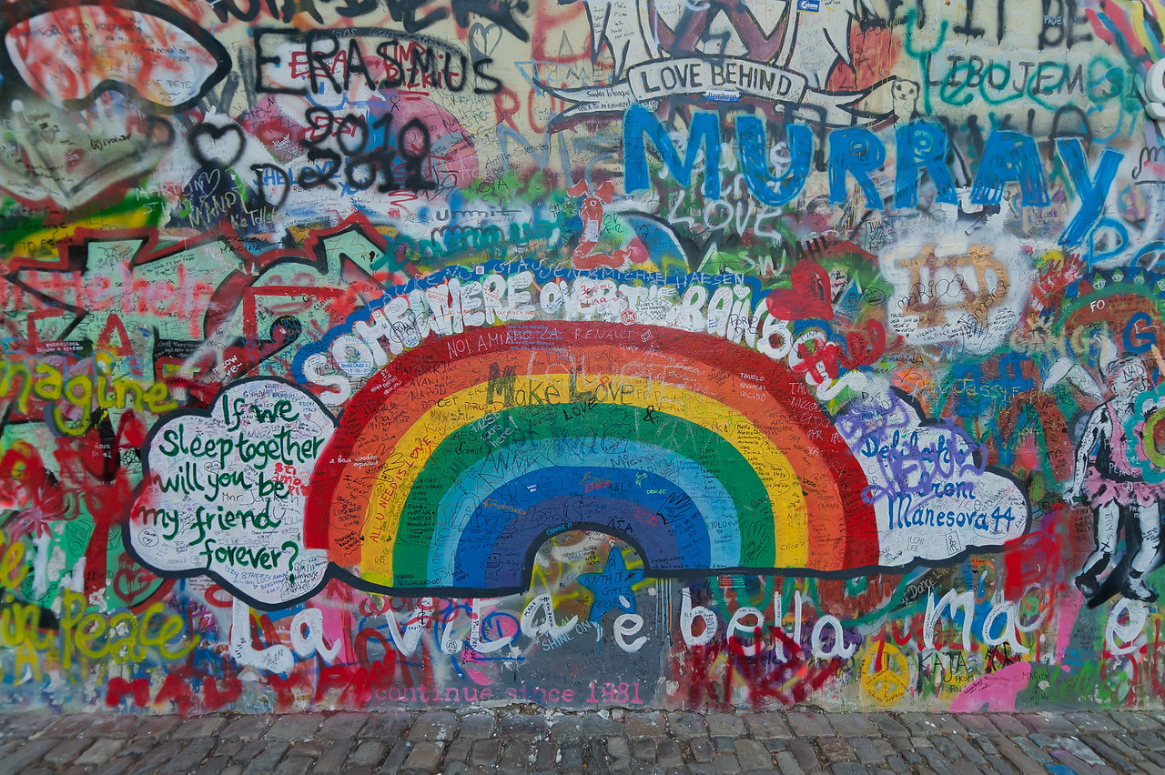 Colorful graffiti at Lennon Wall in Prague, Czech Republic
