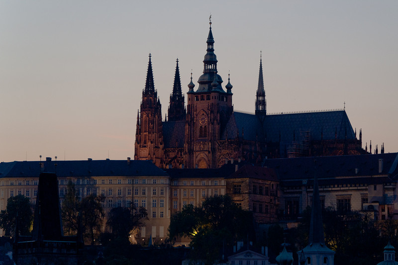 The Prague Castle at dusk - Prague, Czech Republic