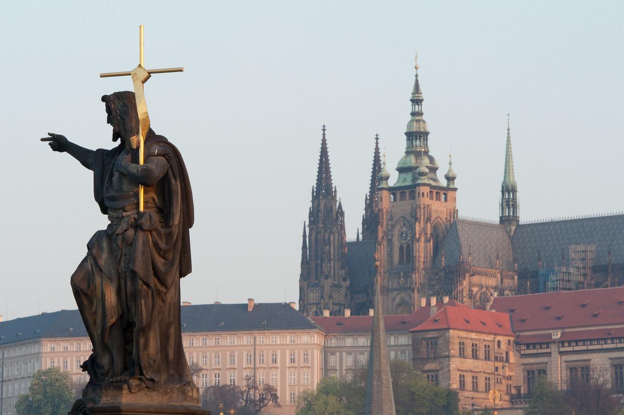 St John the Baptist statue in Charles Bridge - Prague, Czech Republic