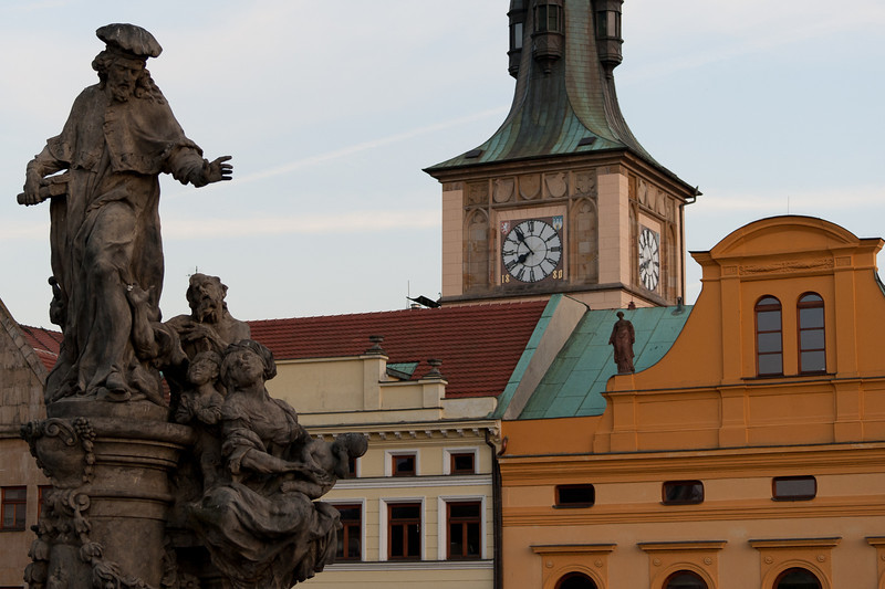Statues on buildings in Prague, Czech Republic