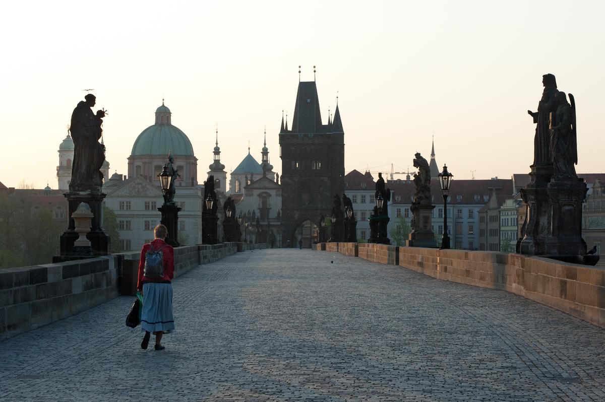 Morning Walk on the Charles Bridge in Prague, Czech Republic