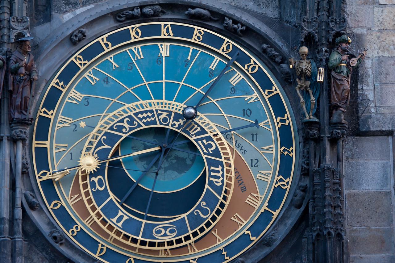 Statues beside the Astronomical Clock in Prague, Czech Republic