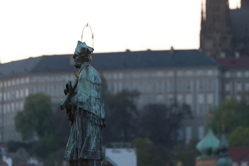 Close-up shot of John of Nepomuk statue in Prague, Czech Republic