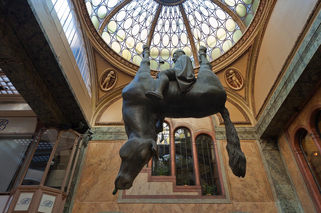 The Upside-Down Horse statue of David Cerny - Prague, Czech Republic